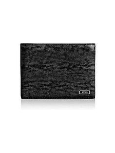 Tumi Monaco Leather Double Billfold Wallet - Black