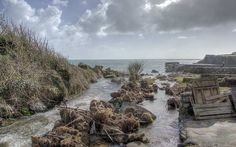 River running out to sea at Lamorna Cove, Cornwall