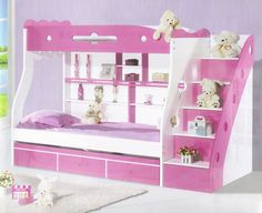 Bunk Bed Model 857 Pink Dimensions  Outer Dimensions (approx): 2500 x 1210 x 1720 Colour Options: 1) Pink for girls 2) Blue for boys. Price : Rs.69,950/-  Mattress is extra. Please email for prices. visit http://kidsfurnitureworld.in/bunk-beds.html