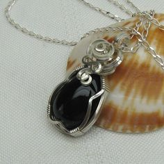 Black Onyx Wire Wrapped in Sterling Silver - Pendant - Necklace