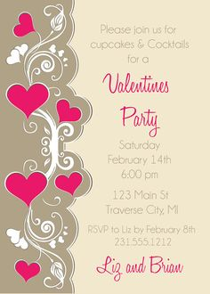 Cute ValentineS Day Party Invitation  ValentineS Day Fun
