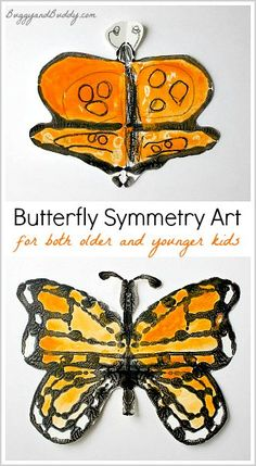 Monarch Butterfly Symmetry Art with directions for both older and younger children!~ BuggyandBuddy.com
