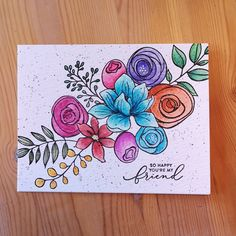 I'm on vacation and brought stuff for watercoloring. One of my nieces wanted to watch me make a card. She picked Sketched Flowers from Simon Says Stamp 😊 Art Drawings For Kids, Easy Drawings, Cool Cards, Diy Cards, Paint Cards, Cardmaking And Papercraft, Diy Canvas Art, Watercolor Cards, Card Kit