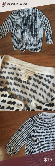 Jcrew Clare cardigan 3/4 length sleeve Jcrew Clare cardigan sweater. Black and white. The black are hearts! So cute. Lightweight sweater. I great used condition! J. Crew Sweaters Cardigans