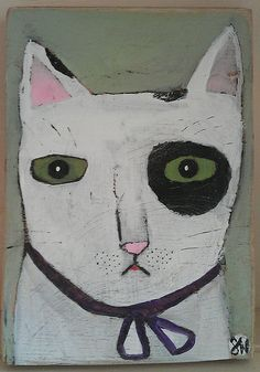 black and white cat face by Oswald Flump.
