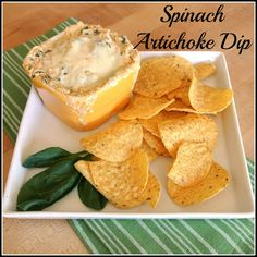 When we have guests over, I always like to have some appetizers. One of our favorite casual appetizers is Spinach and Artichoke Dip. Gluten Free Appetizers, Appetizer Recipes, Party Recipes, Free Recipes, Cheesy Spinach Artichoke Dip, Foods For Healthy Skin, Yummy Food, Tasty, Party Food And Drinks