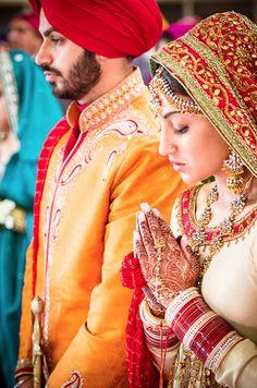 Mr & Mrs, couple, wedding day indian Sikh dulhan dulha
