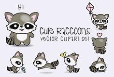 Premium Vector Clipart - Kawaii Raccoons - Cute Raccoons Clipart Set - High Quality Vectors - Instant Download - Kawaii Clipart (2.99 USD) by LookLookPrettyPaper