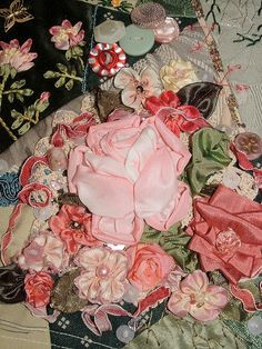 I ❤ crazy quilting & ribbon embroidery . . . Roses RR For Gerry K. ~By Crazybydesign