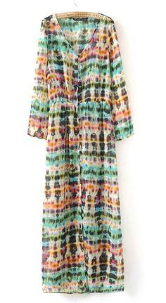 Robe longue V-col mousseline Rue multicolore manches longues