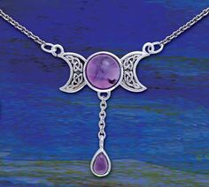 Half moon necklace with amethyst stone