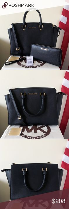 Michael Kors Large Selma Satchel Set Classic set! Black color with gold detailing! Goes well with everything! Authentic.  The Selma Satchel is in large size, has a long strap. Shows light wear on the hardware, other than that in really good condition.  The large wallet is new with tags. Soft leather.   Measurement: 15*10*6 inch   Dust bag is included. Makes a wonderful gift. Michael Kors Bags Satchels