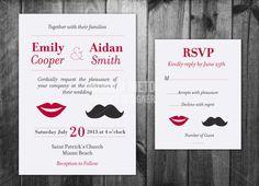 Printable Custom Moustache Wedding Invitation Template