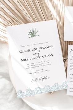 Planning a destination wedding in Cabo San Lucas, Mexico? This invitation set was inspired by the beautiful Acre Baja venue, featuring watercolor agave artwork and hexagon tile to match. Our invitation templates are instant access so you can edit and print easily - instructions included on using our print partner!