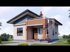 with 2 Bedrooms and common bath with small roof deck. Small Modern House Plans, Modern Small House Design, Beautiful House Plans, Simple House Design, Simple Bungalow House Designs, Modern Roof Design, Small House Layout, 2 Bedroom House Design, House Roof Design