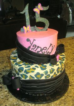 """Pink & leopard birthday cake - 6"""" & 9"""" rounds all frosted in Pastry Pride. Drapes are modeling chocolate. Leopard spots were printed on to edible icing sheets then cut out and placed on the cake. Numbers are gumpaste with disco dust. Thanks for looking!"""