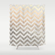 GOLD & SILVER  Shower Curtain by Monika Strigel*** $68.00  #gold #silver #showercurtain #chevron   Made from 100% polyester our designer shower curtains are printed in the USA and feature a 12 button-hole top for simple hanging. The easy care material allows for machine wash and dry maintenance. Curtain rod, shower curtain liner and hooks not included. Dimensions are 71in. by 74in.