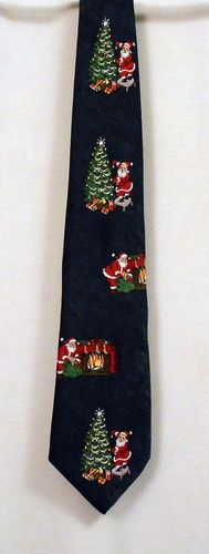 Christmas Tie Botany 500 Navy Trees Santa Claus Gifts Fireplace Stockings | eBay $12.99