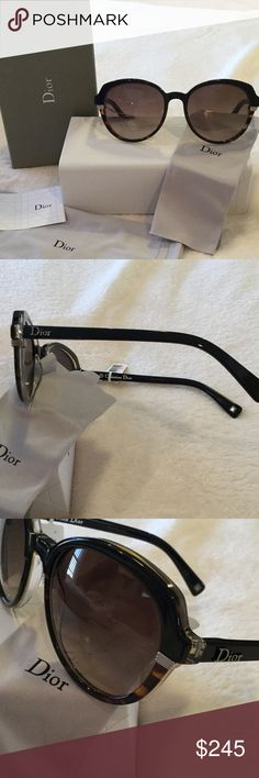 💎Dior Christian Dior Sunglasses.  3-tone!  Black, Havana and Clear!  Goes w everything!  Brown gradient lenses.  Silver hardware.  Silver Dior logo on both temples.  Hot shape!!  Authentic.  Guaranteed.  NWT, never owned or worn.  I love offers! Christian Dior Accessories Sunglasses