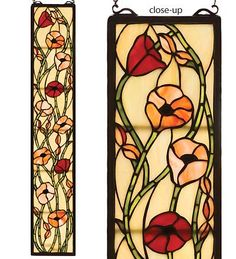 "Poppies Stained Glass Window Panel...Poppies symbolize sleep (remember the Wizard Of Oz?), and are often etched on tombstones. They hold a promise of resurrection after death. A common weed, they cover fields in Belgium, as in the poem ""In Flanders Fields,"" by Canadian surgeon and soldier John McCrae. They're one of the best known memorial symbols for soldiers who have died in conflict. They're now distributed by retired soldiers on Veterans Day in loving remembrance."