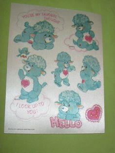 Vintage 1985 RARE Care Bear COUSINS Satin Sticker Sheet GENTLE HEART LAMB