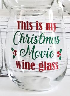 This is my Christmas Movie Wine Glass/Holiday Wine Glass/Christmas and Wine/Christmas Gift for Her/Xmas Wine Glass/Christmas Wine Glass Wine Christmas Gifts, Christmas Wine Glasses, Glitter Wine Glasses, Diy Wine Glasses, Stemless Wine Glasses, Christmas Movies, Christmas Wreaths, Wine Carafe, Wine Glasses For Teachers
