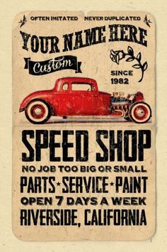 Your Name on Vintage Look Speed Shop Hot Rod Poster Personalized Mechanic | eBay
