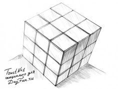 Как нарисовать Кубик Рубика карандашом