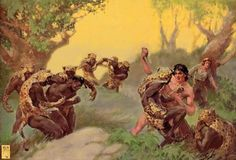 John's wraparound illustration for Tarzan and the Leopard Men. Despite the amazing concept (Tarzan vs. an African secret society ruled by witch doctors with secret jungle lairs surrounded by. George Bridgman, Tarzan Of The Apes, Frank Frazetta, Pulp Art, Art Google, Fantasy Art, Cool Pictures, African, Artwork