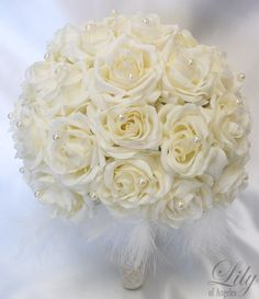 Round Bridal Bouquet Groom Boutonniere IVORY Lily by LilyOfAngeles, $129.99