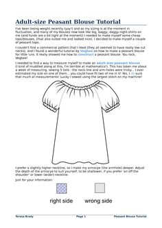 Peasant Top Pattern Girls Free | Adult-size Peasant Blouse Tutorial