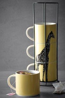 Cups & Mugs | Stacking Mugs & Coffee Cup Sets | Next Giraffe Mug, Yellow Mugs, Wooden Basket, Nice Rack, Coffee Cup Set, Walnut Stain, Fine China, Mugs Set, Color Pop