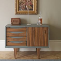 sliding door credenza: refinished doors, drawers and legs, painted exterior (especially on laminate furniture)