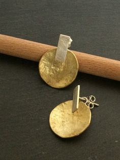 handmade earrings - brass silver 925