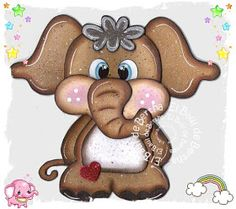 EL BAÚL DE BERTHA - MANUALIDADES: Elefante Corazón en Foamy ó Goma Eva - Aplique Rock Painting Designs, Paint Designs, Applique Patterns, Doll Patterns, Burlap Crafts, Paper Crafts, Preschool Crafts, Crafts For Kids, Wood Yard Art