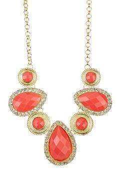 Coral Teardrop Crystal Necklace by t+j Designs on @HauteLook