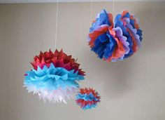 Tissue Paper Party Pom-Poms Craft: Summer Crafts for Kids - Camp Crafts, 4th of July - Kaboose.com