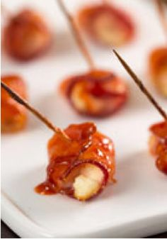 Bacon-Wrapped Buffalo Chicken Bites -- Whether you are at the stadium or in the comfort of your home, this appetizer recipe is great for game day! Serve with ketchup or wing sauce.