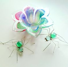 Mint Green Spiders Two Hanging Handmade by SpiderwoodHollow, $18.00