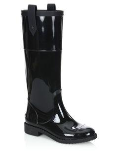 $381 NIB JIMMY CHOO Edith Tall Rubber Rain Boot, Black, sz 39 #JimmyChoo #Rainboots