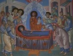 Успение Божией Матери, фрагмент росписи храма Смоленского скита, 2005 год.
