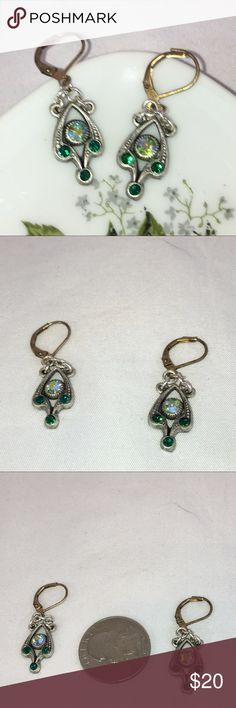 Emerald Swarovski Crystal Earrings Emerald & Emerald AB Swarovski crystals set in a silver-tone base. NWT 🚫No trades🚫 ps-creations Jewelry Earrings