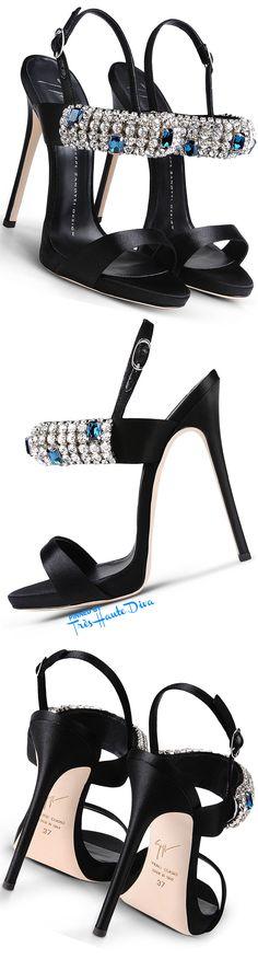 Giuseppe Zanotti Black Satin Sandals With Clear And Blue Crystal Jewel Bracelet Strap ♔Très Haute Diva♔