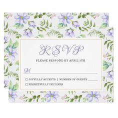 Spring Dreamy Purple Garden Wedding RSVP Card - invitations personalize custom special event invitation idea style party card cards