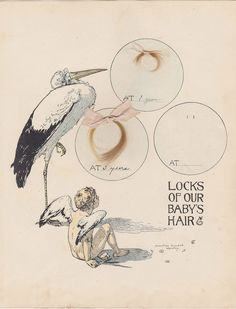 Locks of Our Baby's Hair Vintage 1900s Albertine Randall Wheelan Stork Art Print