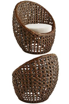 Welcome to your own private hideaway for one. Hand-woven of natural rattan in an… Industrial Dining Chairs, Leather Dining Room Chairs, Arm Chairs, Shabby Chic Campers, Round Seat Cushions, Comfy Armchair, Old Wicker, Beach Chair With Canopy, Small Balcony Decor