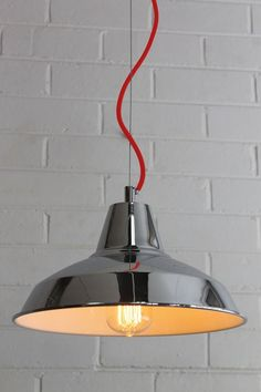 Warehouse Style Chrome Ceiling Pendant Light standard RED CORD