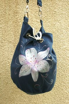 Vegan hand painted cotton blue white lily shoulder bag by AtelierGOBI on Etsy White Lilies, Unique Bags, Lily, Blue And White, Hand Painted, Shoulder Bag, Vegan, Christmas Ornaments, Trending Outfits