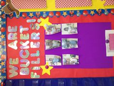 Bucket fillers bulletin board... Students can nominate someone who did a kind gesture for them through out the week. Winner gets their choice of chips and soda for lunch and their picture on the bulletin board