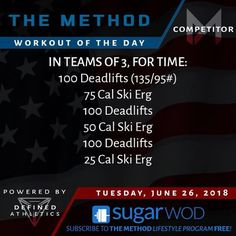 WORKOUT OF THE DAY  Tuesday June 26 2018 . COMPETITOR . IN TEAMS OF 3 FOR TIME: - 100 Deadlifts (135/95#) - 75 Cal Ski Erg - 100 Deadlifts - 50 Cal Ski Erg - 100 Deadlifts - 25 Cal Ski Erg ----------------------------------------------- FITNESS . IN TEAMS OF 3 FOR TIME: - 100 Deadlifts (115/80#) - 75 Cal Ski Erg - 100 Deadlifts - 50 Cal Ski Erg - 100 Deadlifts - 25 Cal Ski Erg ----------------------------------------------- LIFESTYLE . IN TEAMS OF 3 FOR TIME: - 100 Deadlifts (95/65#) - 75…